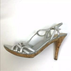 Shoes - Metallic Silver Heels T Straps, Prom Party Wedding